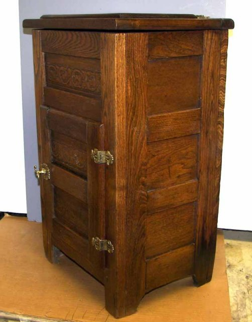 Wonderful Description: This Is A Very Rare Old Salesmanu0027s Sample Oak Wood Ice Box  With Metal Lining. It Has The Original Brass Hardware And The Original  Finish.