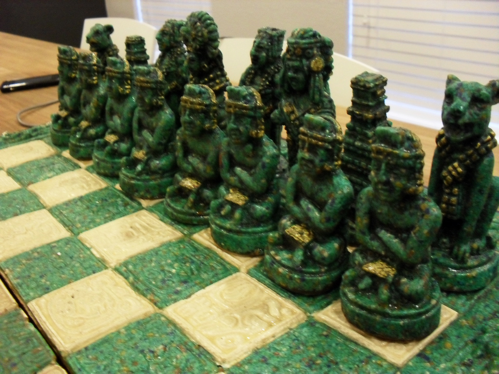 Scarce antique wood stone mayan chess set mexico for sale classifieds - Granite chess set ...