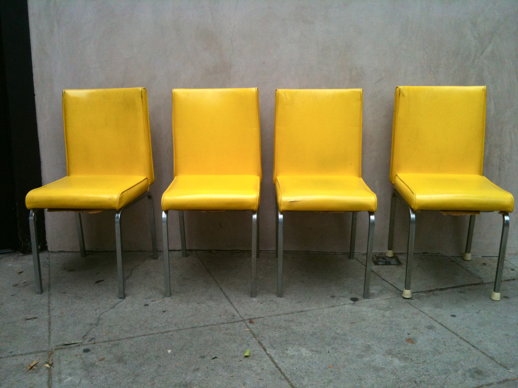 4 Vintage Mid Century Chrome  Black Vinyl Chairs | Furnish Me Vintage