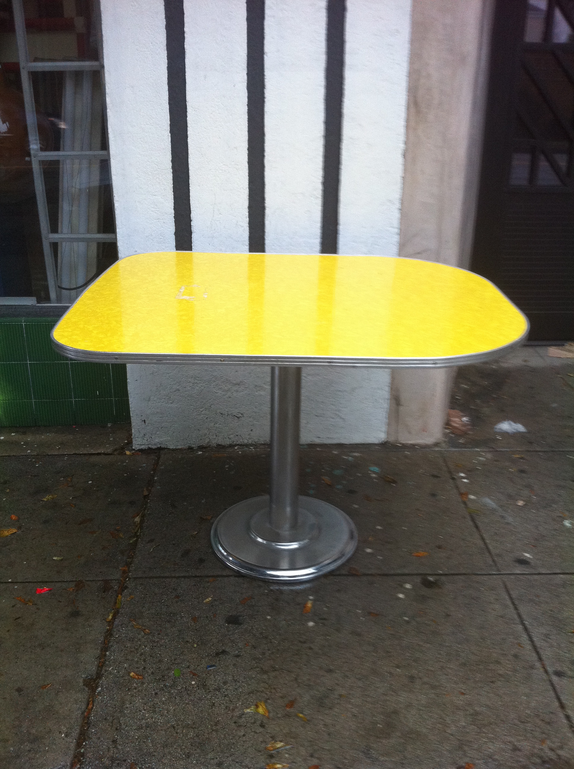 retro kitchen table with yellow formaica top for sale