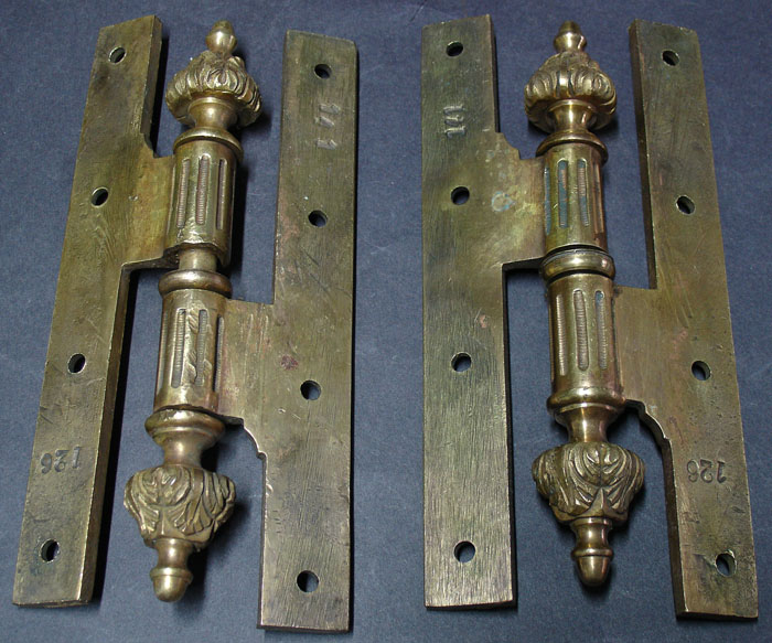 2 Important Old French Brass Door Hinges Numbered For Sale