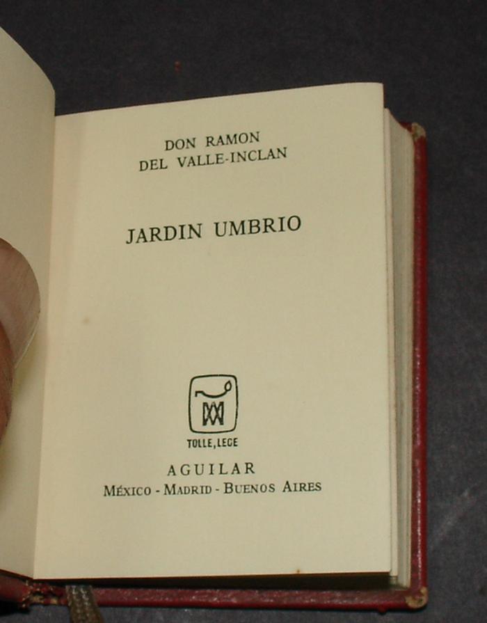 Mini book jardin umbrio mr ramon of the valley inclan for for Jardin umbrio