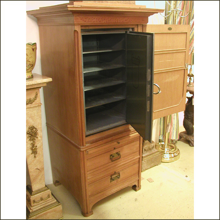 a german art nouveau safe in a cherry wood chest for sale classifieds. Black Bedroom Furniture Sets. Home Design Ideas
