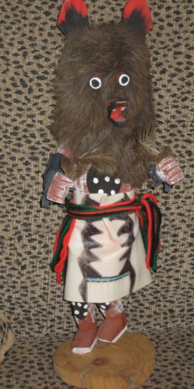 Native American Kachina Doll Hand Carved Wolf Brown Fur