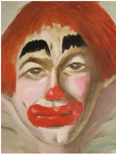 1950'S CLOWN OIL PAINTING SIGNED WALKER IPSWICH MASS For Sale