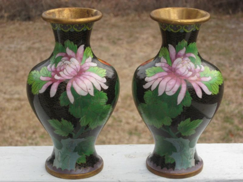Matched Pair Cloisonne Vases Marked Jingfa 7 Tall For Sale