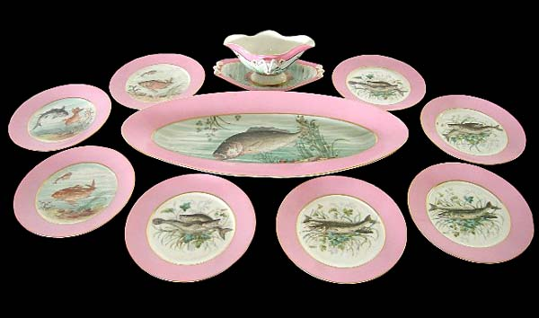 Hand Painted 10-Pc. Fish Plate Set by Haviland u0026 Co. - For Sale  sc 1 st  Antiques.com & Hand Painted 10-Pc. Fish Plate Set by Haviland u0026 Co. For Sale ...