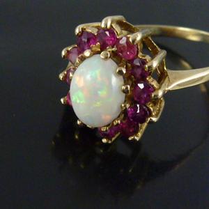 Opal And Garnet Vintage Gold Cluster Ring E10741 For