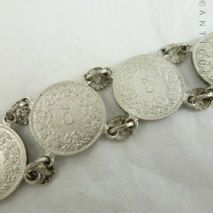 Silver Bracelet Made Using Swiss Coins All From The Period 1882 To 1889 Are Joined Links With Pretty Flower Head Fronts