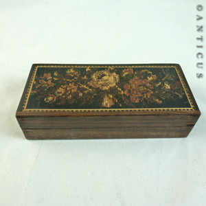 small tunbridge ware box inlaid with roses c13826 for sale classifieds. Black Bedroom Furniture Sets. Home Design Ideas