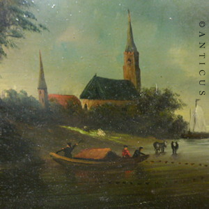 Dutch Oil Painting Fishing Scene 10696 For Sale