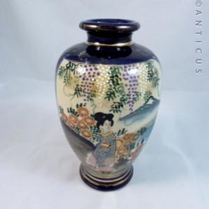 Satsuma Vase Cobalt Blue And Landscapes C13644 For Sale Antiques Com Classifieds