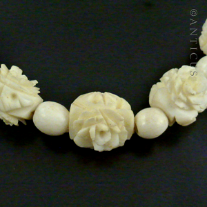 Carved Bone Beads Rose Design Early 20th Century C14737 For Sale Antiques Com Classifieds