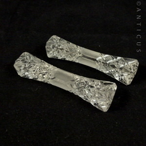 Pair Of Edwardian Cut Gl Knife Rests