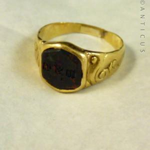 22ct Gold, 19th Century Signet Ring, Bloodstone Intaglio