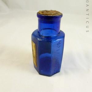 victorian strychnine powder bottle blue glass c11925