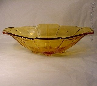 amber depression glass art