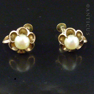 2492e77f1 Vintage earrings, genuine pearl centres with flower effect surround in 1oct  rose gold. European origin, stamped K10. Face of earrings measure 1 cm  diameter.