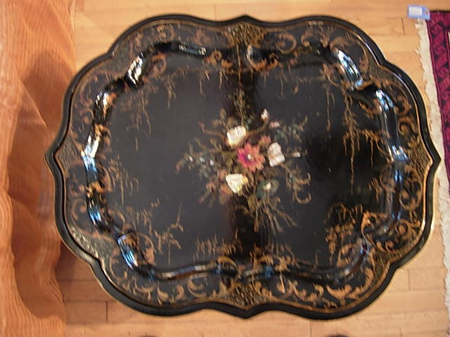 Victorian Baroque Papier Mache Tray Coffee Table For Sale