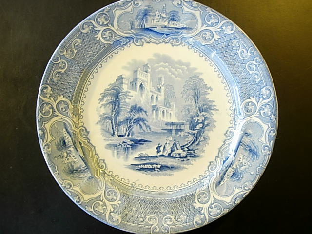 Staffordshire Blue Priory Plate By E Challinor For Sale