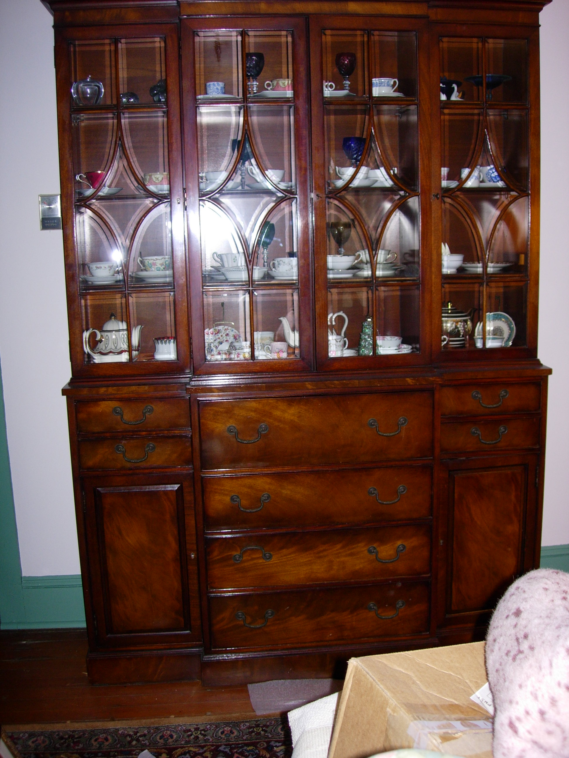 mahogany china cabinet/ secretary/bookcase- henredon for sale
