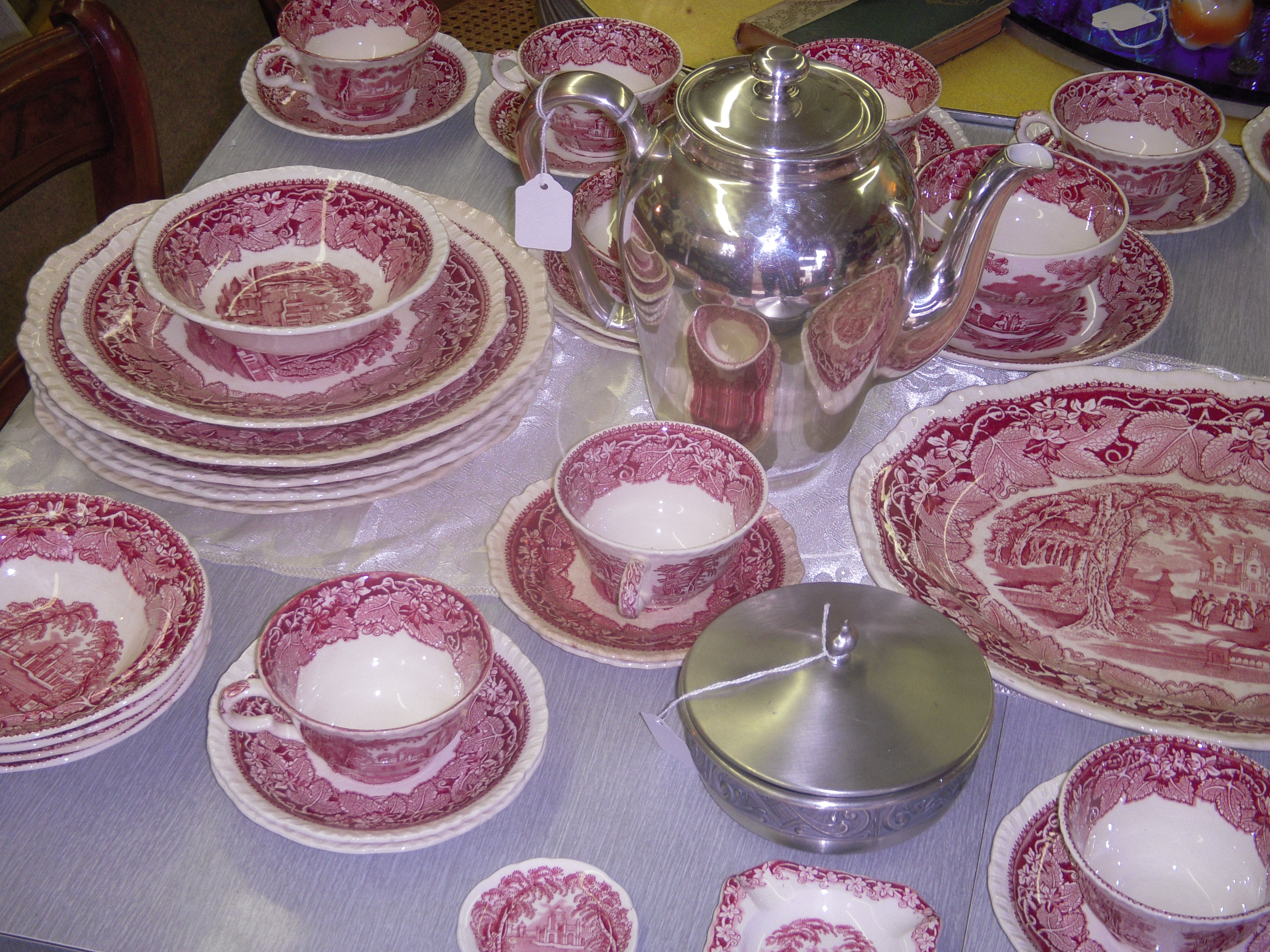 Antique China By Mason S Vista Pattern In Red