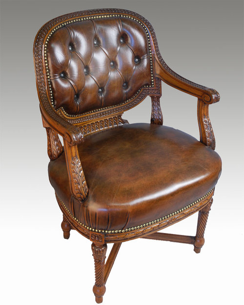 Mahogany Framed Office Chair For Sale