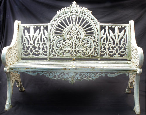 An Irish, Cast Iron Garden Bench With Allover Leaf And Berry Designs,  Having A Central Arched Panel And Cast Pierce Wexford, With A Five Bar Seat  Raised Up ...
