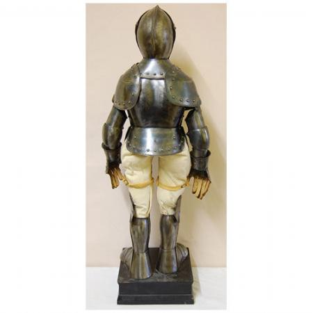A Miniature Full Suit Of Armor In Late 16th Century Style On Black Painted Box The Articulated Comprising Close Helmet Having Two Piece Skull With
