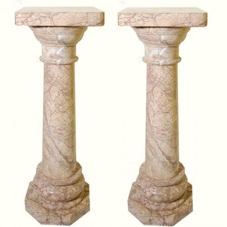 Pink veined marble columns for sale for Interior columns for sale