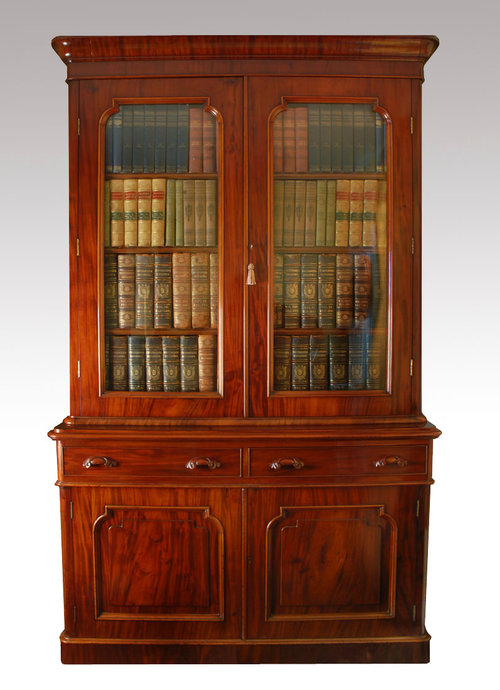 Victorian Mahogany Two Door Bookcase For Sale Antiques