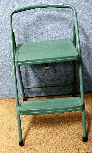 This is a unique old metal step stool that folds to become very thin. It was stripped and painted green to fit in those small areas. & Folding Step Stool B1564 For Sale | Antiques.com | Classifieds islam-shia.org