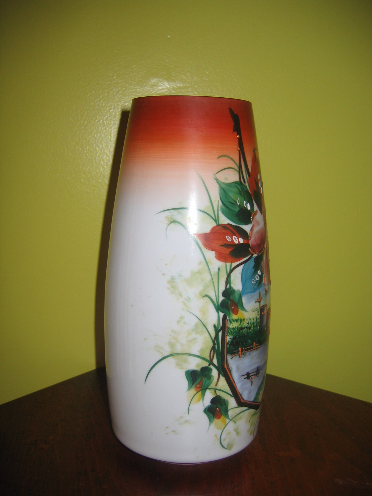 Vintage thin milk glass hand painted oriental floral art painting on glass vase item 642 for for Pictures painted on glass