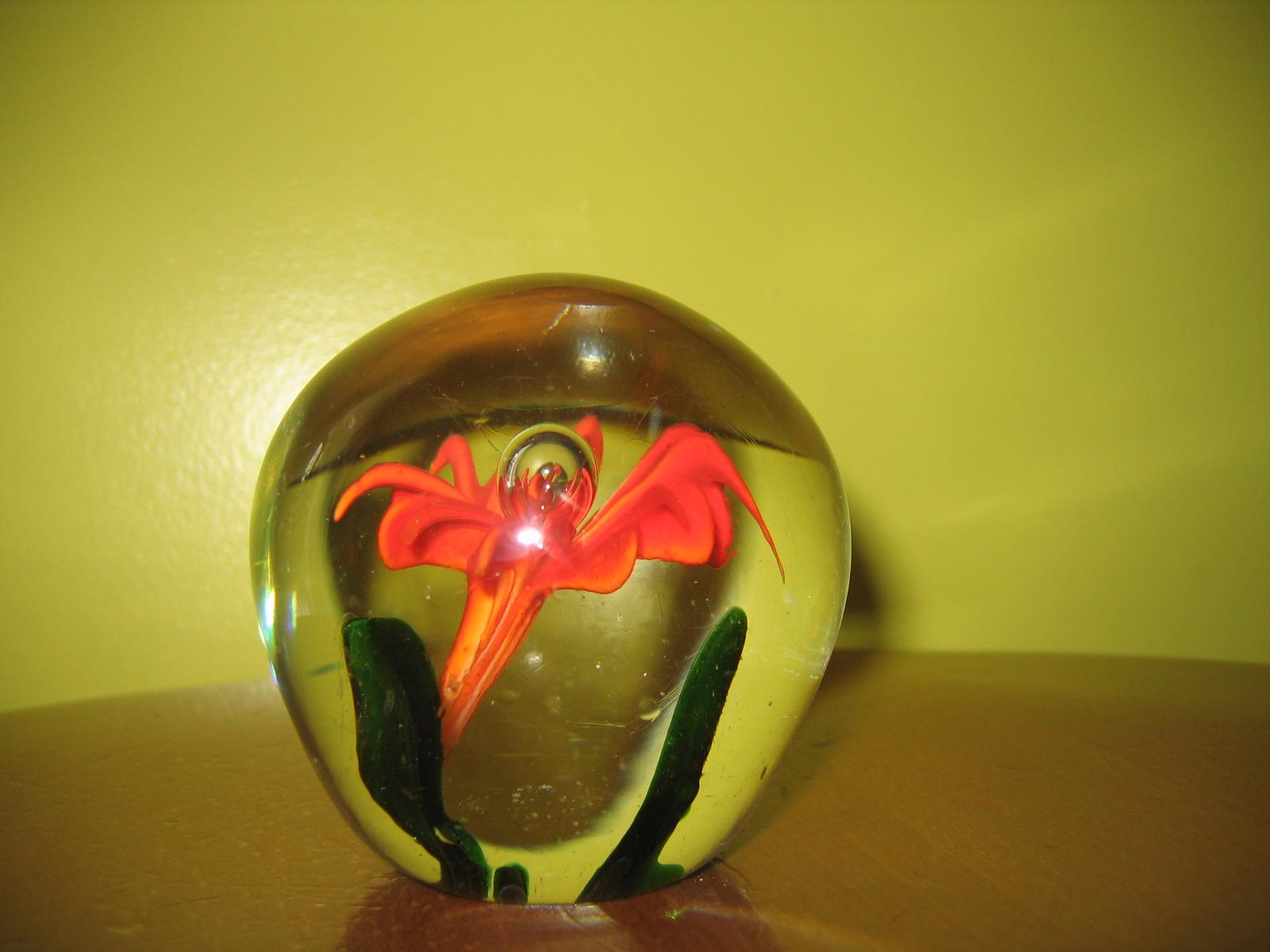 Collectible hand blown art glass orange flower paperweight item collectible hand blown art glass orange flower paperweight item 3838 for sale mightylinksfo