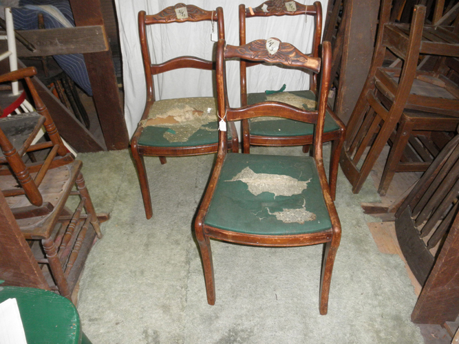 B2749 Vintage Antique Fancy Set Of 3 Mahogany Chairs For Sale Classifieds