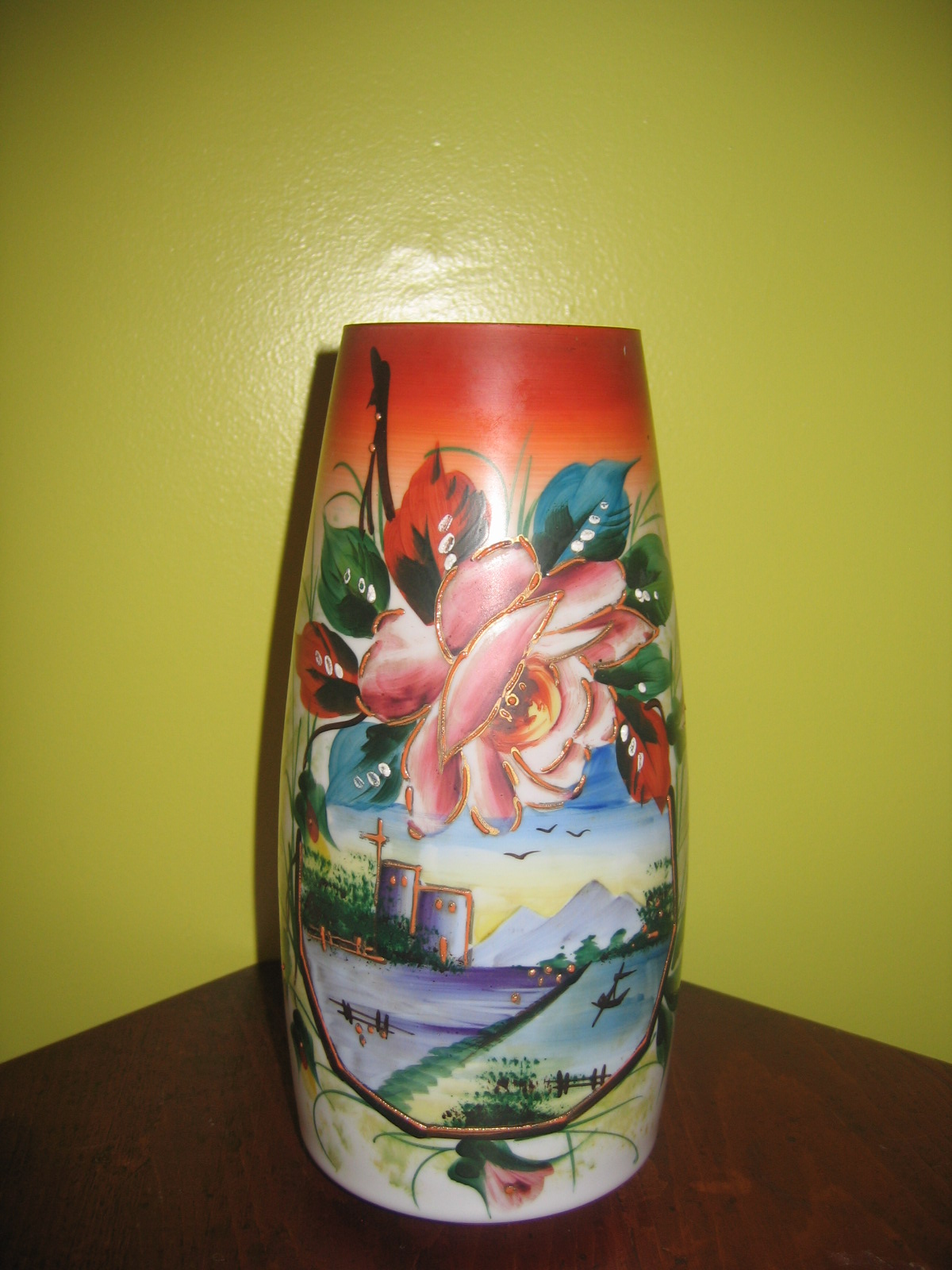 Vintage Thin Milk Glass Hand Painted Oriental & Floral Art Painting Glass Vase Item 642 For