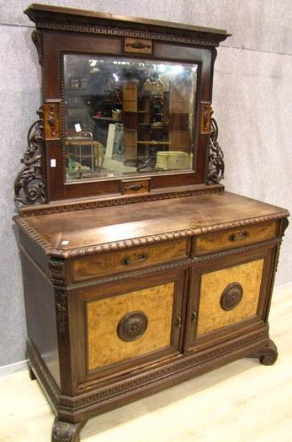 A252 Antique Italian Carved Walnut Vanity Chest With Mirror Circa 1900 For Sale Antiques