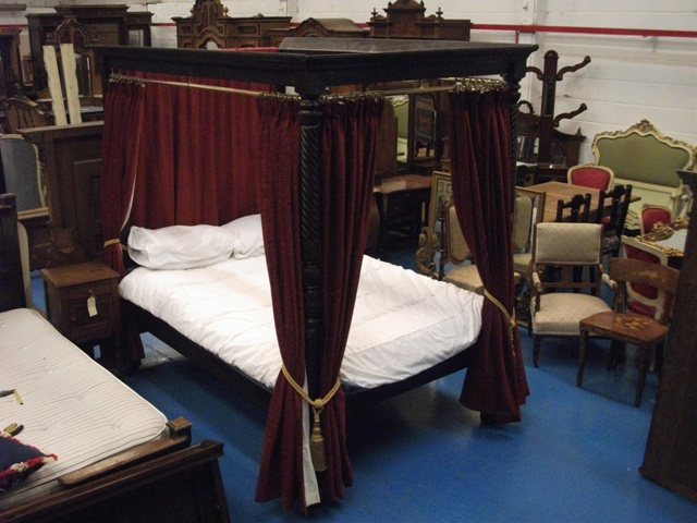 A351 good quality early victorian four poster double bed circa 1840 for sale - Four poster bed curtains ...
