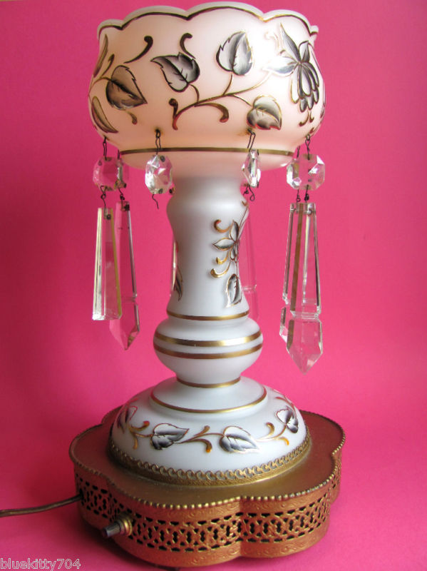 Hand Painted Opaque White Glass Lamp W Crystals For Sale