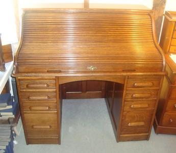 Solid Golden Oak Roll Top Desk 3041 For