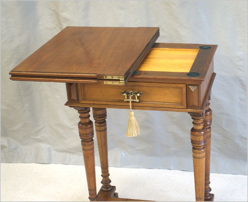 small antique fold over walnut writing table ref 3028 for sale