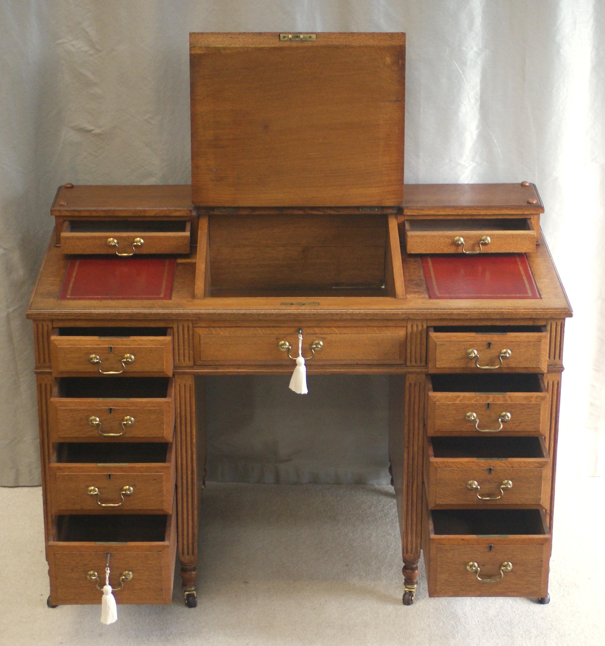 Antique Victorian Oak Dickens Desk Ref 4025 For Sale