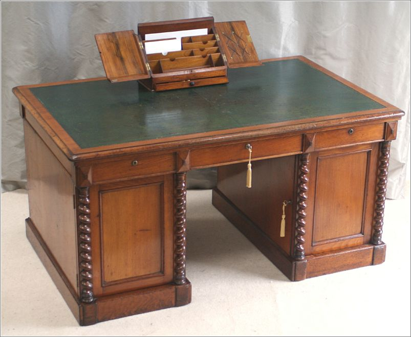 A Splendidly Original Smaller Antique Victorian Walnut Partners Desk This Is Traditional Twin Pedestal With Pull Out Drawers Behind