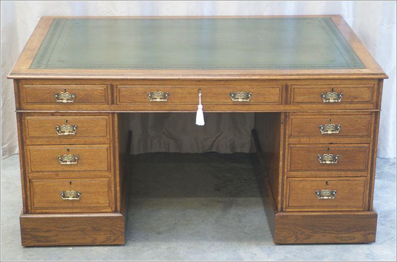 Antique Oak Partners Desk Ref 1005