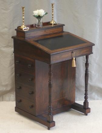 Small Antique Victorian Rosewood Davenport Desk Ref 4024