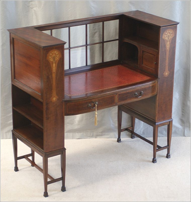 Antique inlaid arts crafts writing desk ref 4008 for for Crafting desks for sale