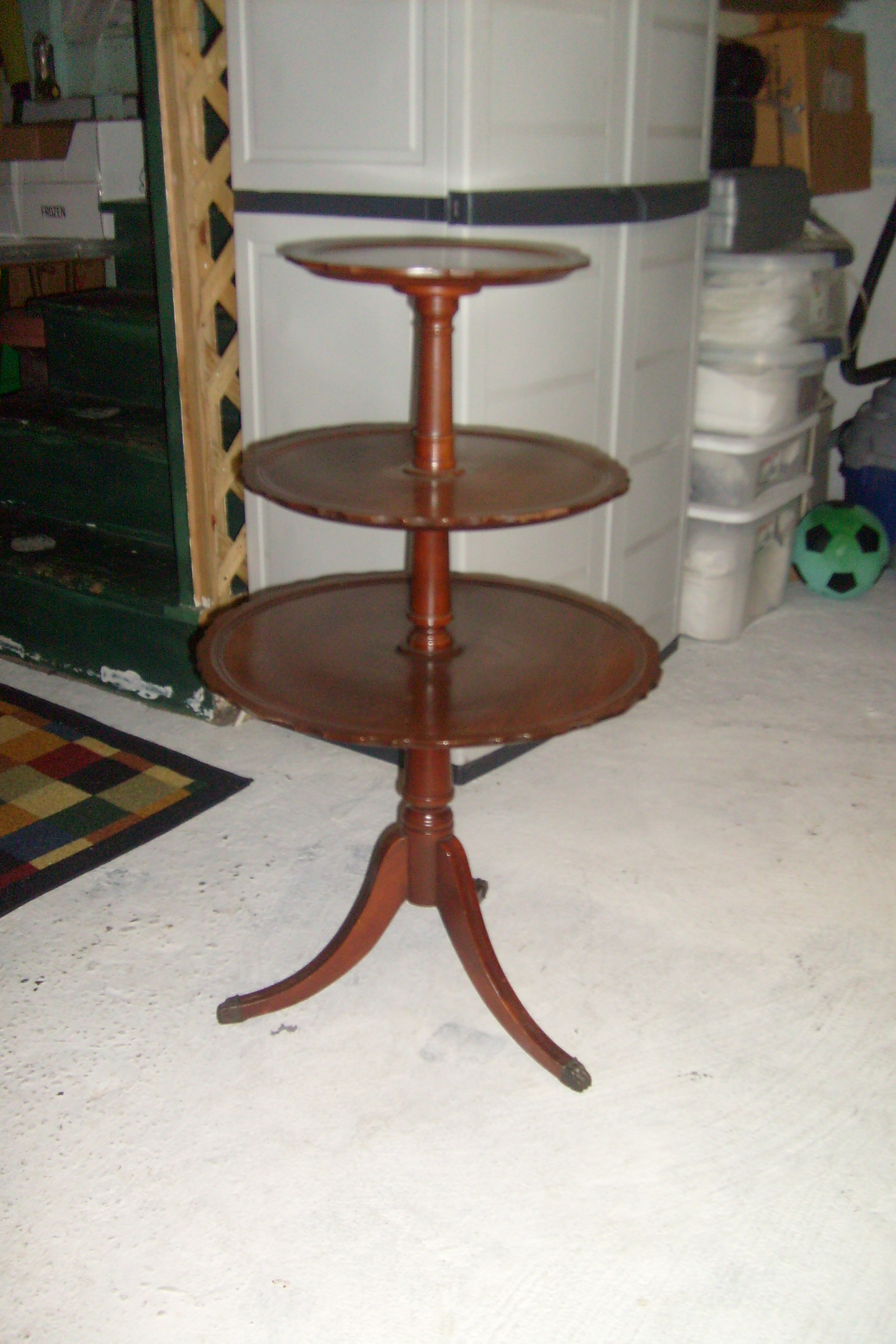 Antique 3 Tier Wood Table Image And Candle Victimist