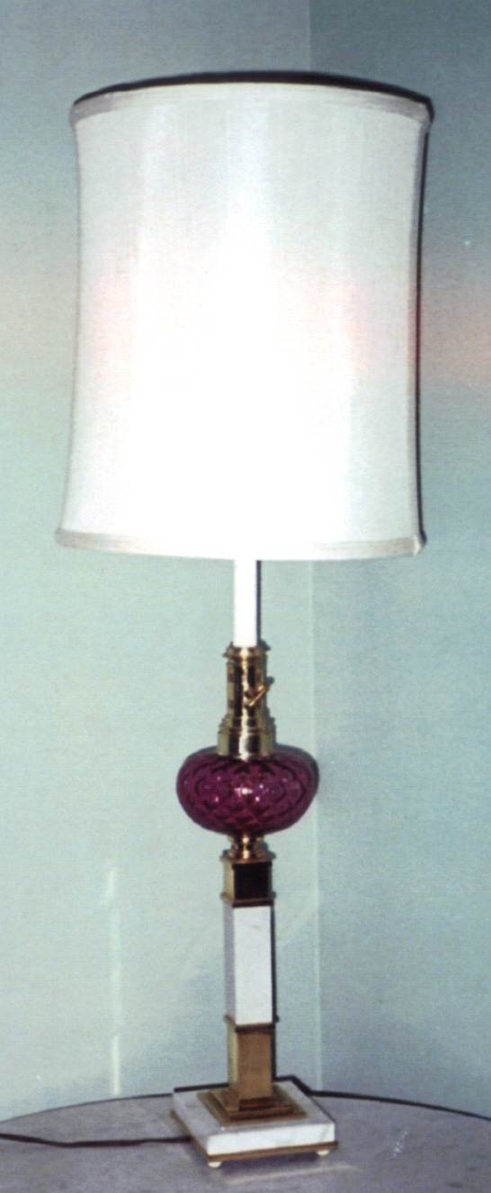 Cranberry Glass Marble Base Lamp For Sale
