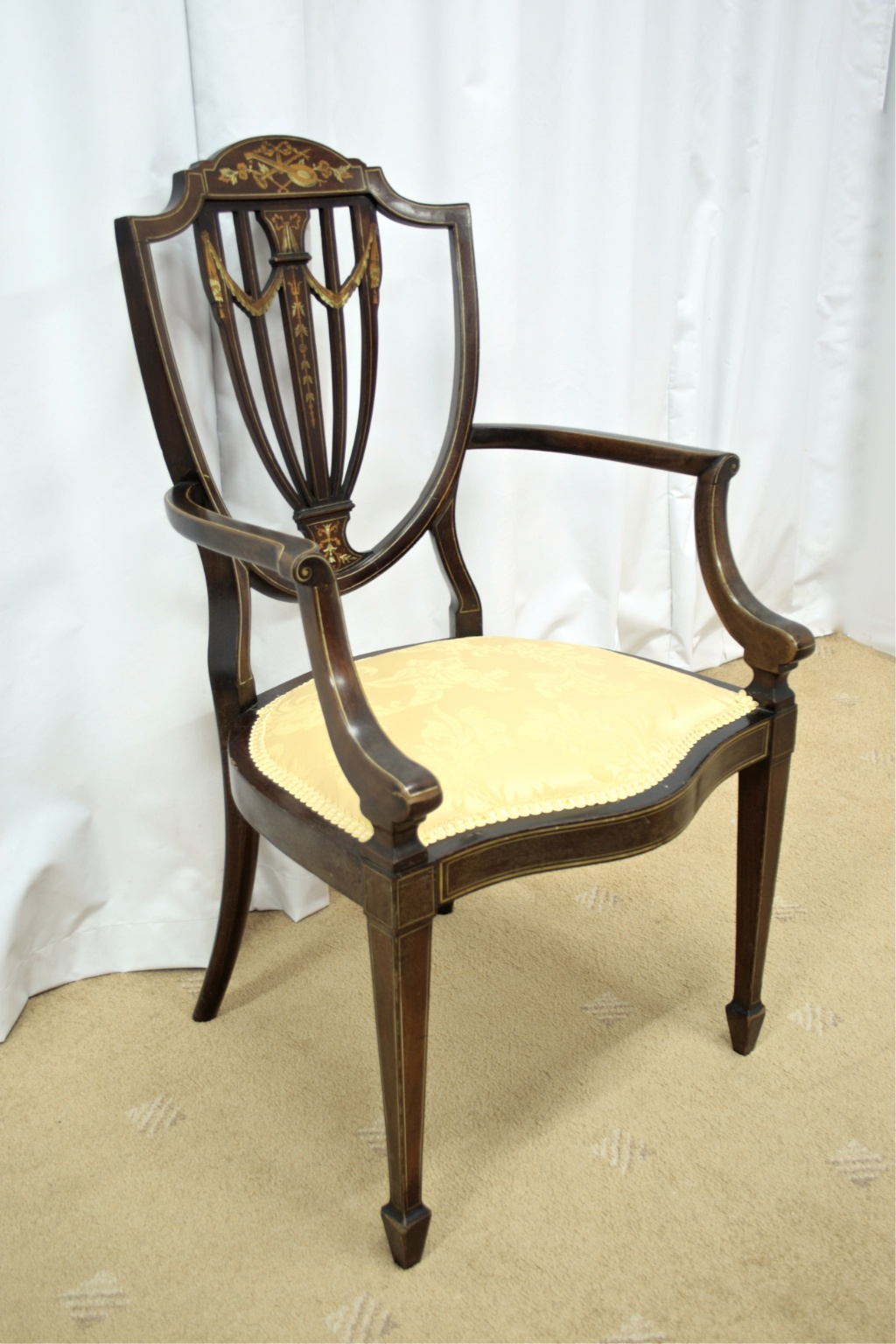 Edwardian Inlaid Bedroom Chair For Sale