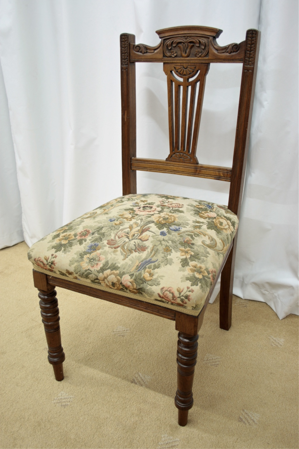 A set of six 19th century walnut dining chairs with carved & pierced back  splats. The chairs have overstuffed floral upholstered spring seats, ... - Six 19th Century Walnut Dining Chairs For Sale Antiques.com
